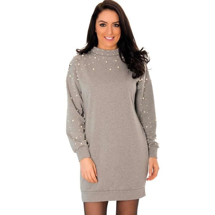 Miss Wear Line Robe pull grise manches longues détails perles ... 3725ad1a0af2