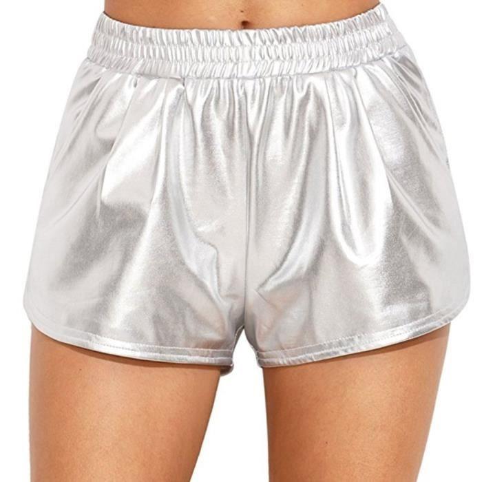 97aded5d57 Cuir pour femme Wet Look Shorts Yoga Pantalons brillant métallique avec  poches 3Z8AFC Taille-34