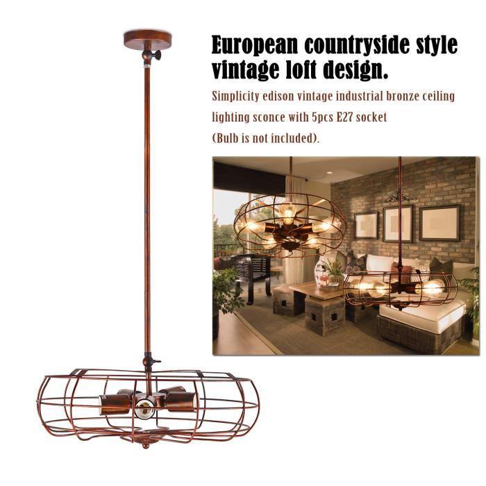 vintage fer forg m tal fan lustre suspension r tro droplight plafonnier noir e27 sans ampoule. Black Bedroom Furniture Sets. Home Design Ideas