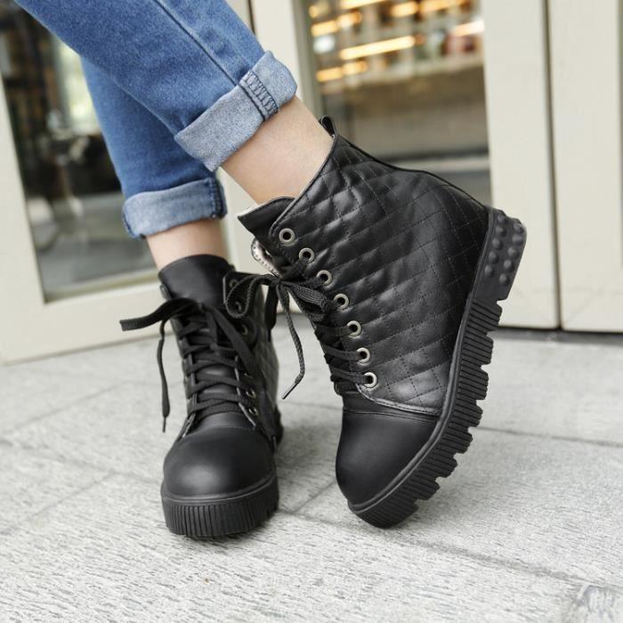 bottes courtes-Pure Color Low Heel de femmes ...