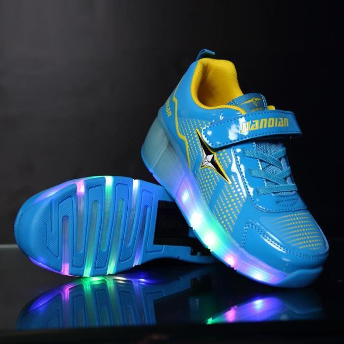 Mode enfants Chaussures roulettes LED Lumière Chaussures de Sports Baskets Garcon Fille unique wheel