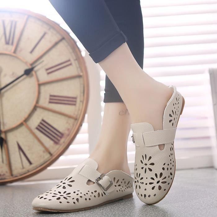 De nouvelles femmes Chaussures en cuir Mocassins Mère Mocassins douce Loisirs Flats Femme Chaussures Casual Auto,beige,37