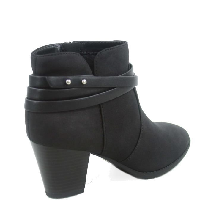 Cityclassified Mode Dian-s bout en amande Straps Western Chunky Bottes de chaussures à talons GAWA5 Taille-41