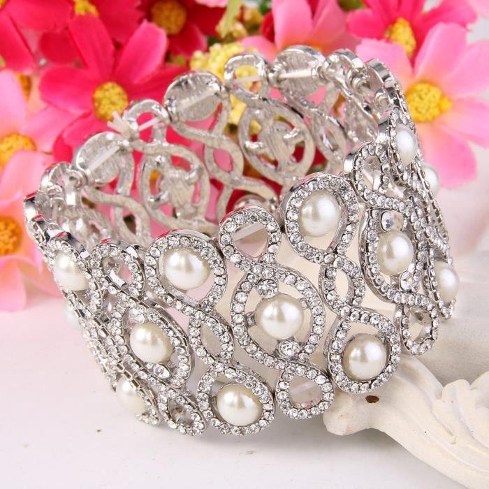 Ever Faith Les femmes de cristal Simulé Perle 8 en forme de noeud Bracelet extensible clair T79A3