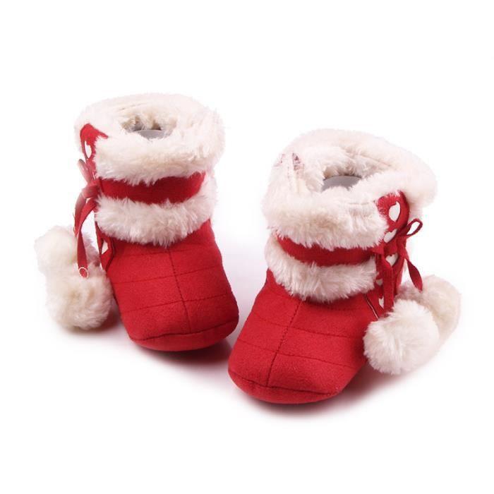 Hiver Bébé Chaussures en coton Mignon Nœud papillon Noël Chaussures Bébé Bottes de neige
