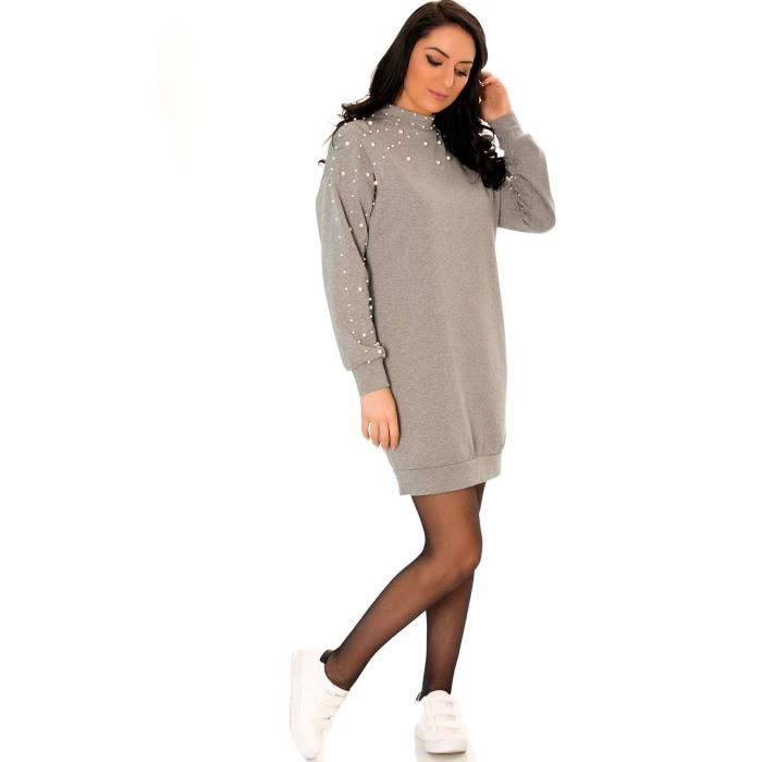 ... Miss Wear Line - Robe pull grise manches longues détails perles ... fb9ca6773969