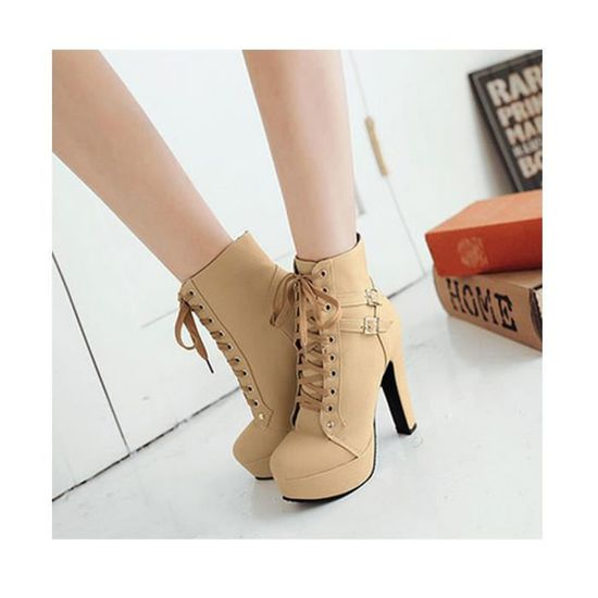 Bottines Femmes Chaussures Talon Aiguille Plateforme Epais Boots