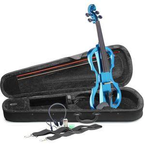 STAGG EVN X-4/4 MBL Pack violon électrique 4/4 bleu métallique - Etui semi-rigide - Casque