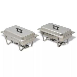 CHAUFFE-PLAT Chafing-dish chauffe-plats 2 pcs acier inoxydable