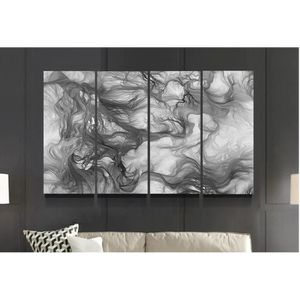 Tableau abstrait noir et blanc - Achat / Vente pas cher