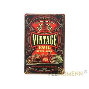 OBJET DÉCORATION MURALE Plaque Métal Déco Vintage - Evil Speed Shop Kustom