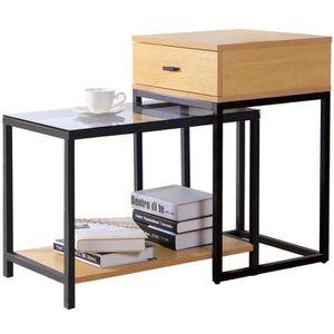 TABLE BASSE JARDIN  Lifewit Ensemble de Table d'Appoint Moderne à 2 Pi