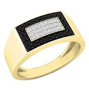 BAGUE - ANNEAU Bague Homme 10 ct Or Jaune Diamant 0.45 ct  Noir &