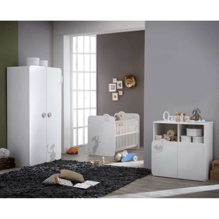 KITTY Chambre Bébé Complète : Lit 60x120 cm + Armoire + Commode