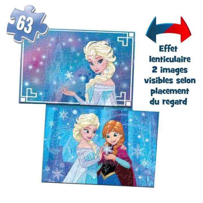 LA REINE DES NEIGES Boite Carton 2 Puzzles Lenticulaires