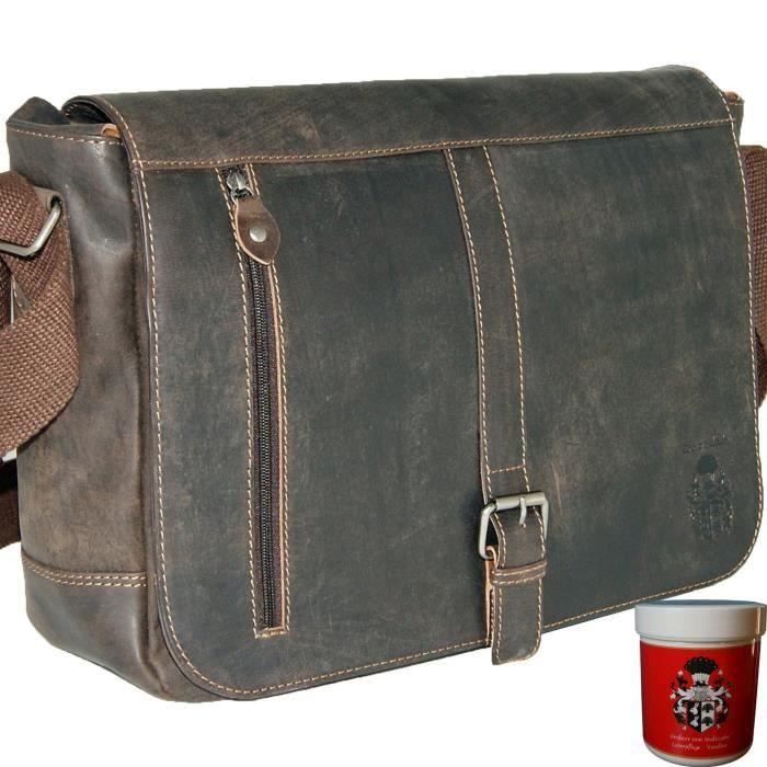 Baron de Sac à bandoulière Maltzahn Sac pour ordinateur portable en cuir brun Franklin 1U7JYY