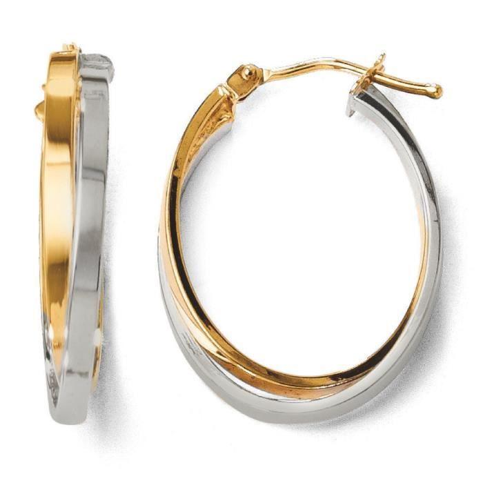 Poli 14 carats-Bicolore-Boucles doreilles anneaux à charnière
