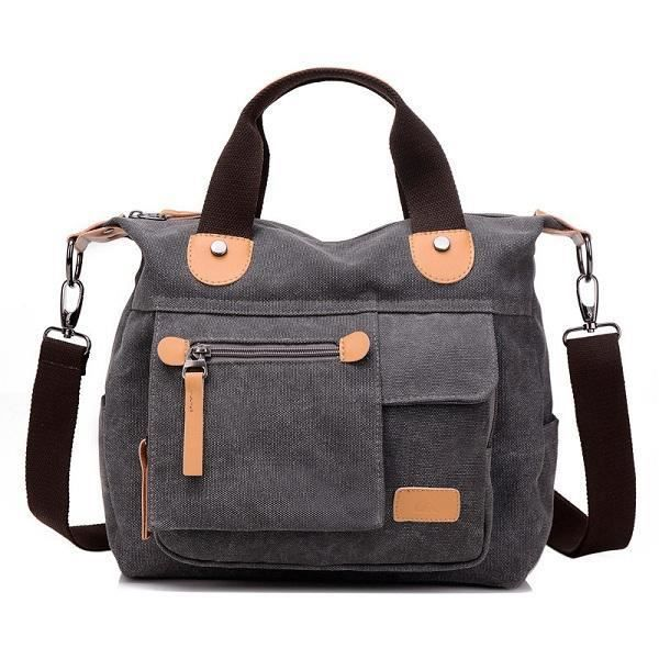 SBBKO4070WomenToileCasualGrandecapacitéfonctionnelle Multi Pocket Handbag Shoulder Bag Crossbody Bag Gris