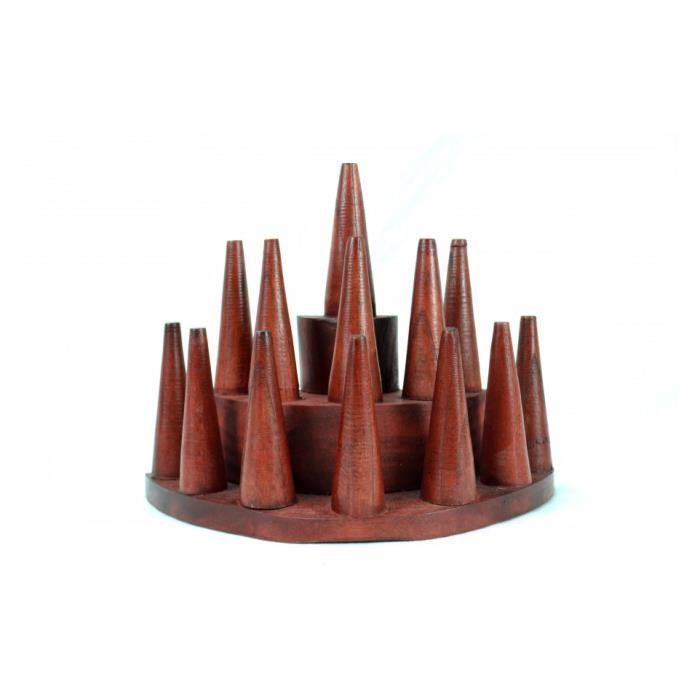 Porte-bagues /Présentoir à bagues (13 cônes) en bois teinte rouge Rouge