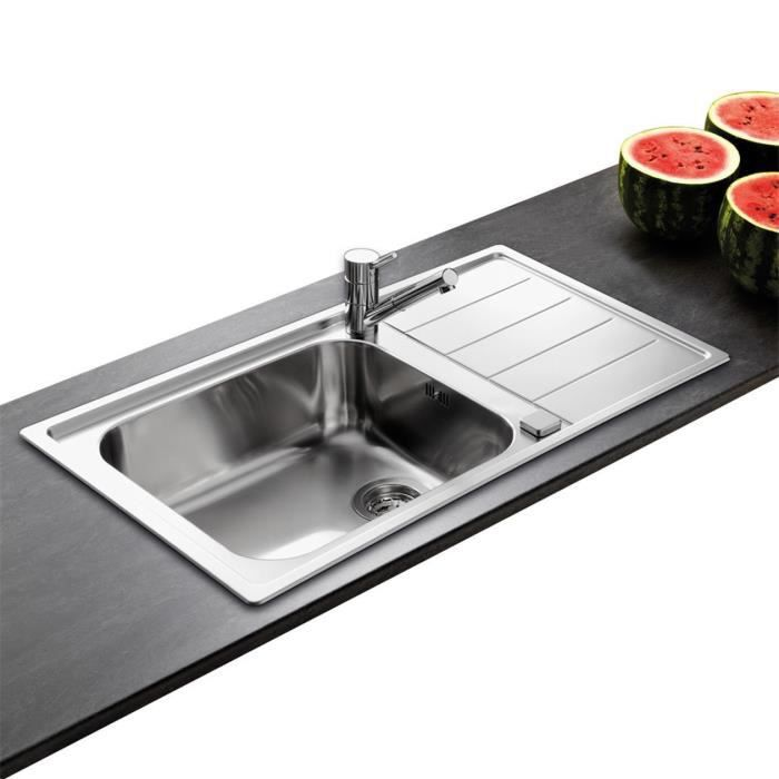 Vier inox lisse teal 1 grand bac 1 gouttoir achat for Evier cuisine grand bac