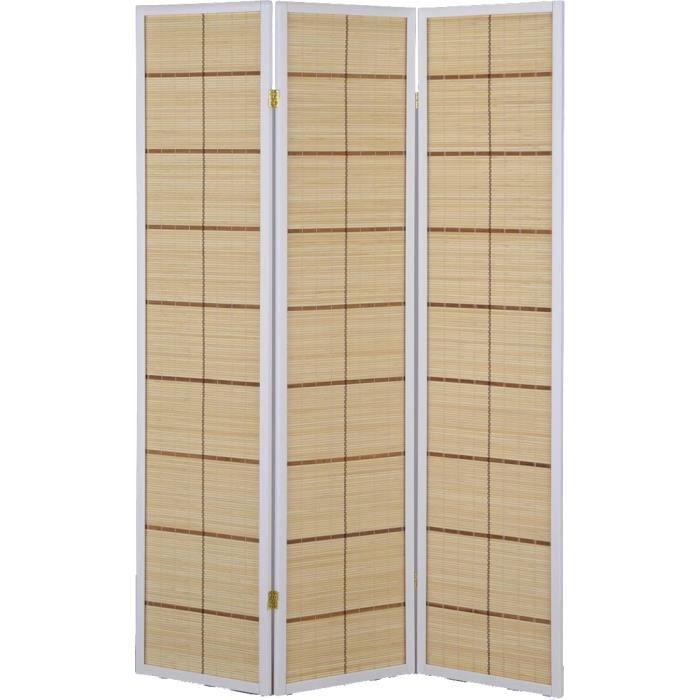 paravent intrieur 3 panneaux en bambou avec structure coloris blanc