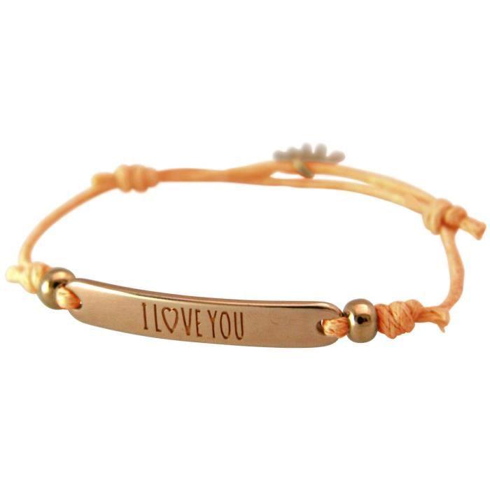 Gemshine - Dames - Bracelet - Gravure - JE VOUS AIME - plaqué or rose - corail lumineux - Rose