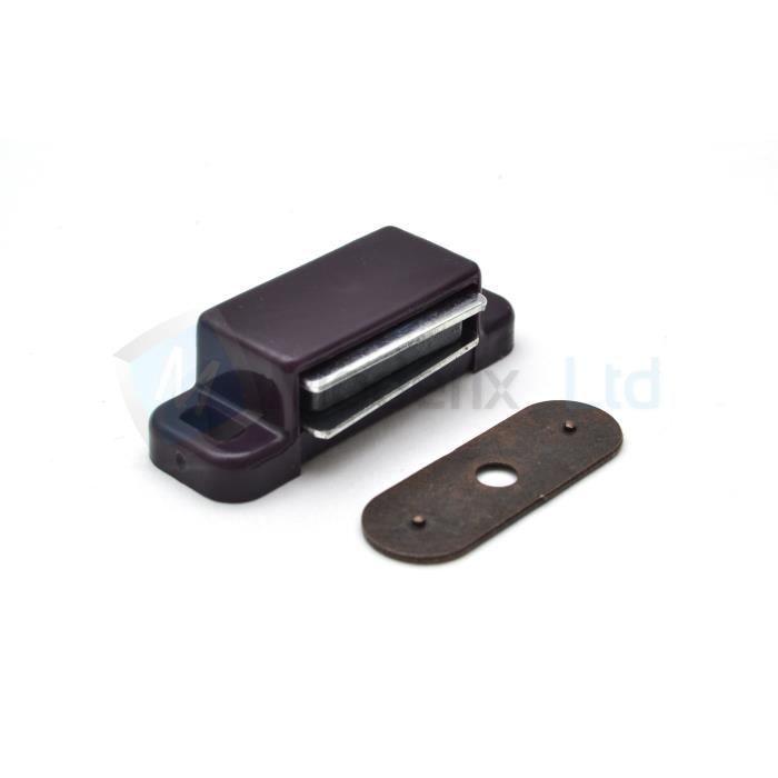 1 aimant de porte de placard marron force 3 4kg entraxe 47 mm achat vente serrure verrou. Black Bedroom Furniture Sets. Home Design Ideas