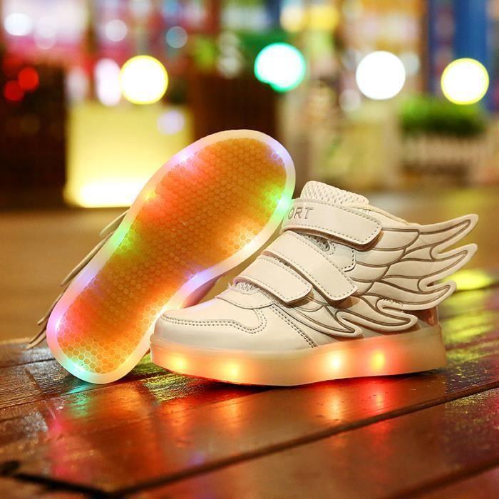 Enfants LED allumée chaussures simili cuir kids chaussures de sport bottes d'hiver pour garçon ou fille