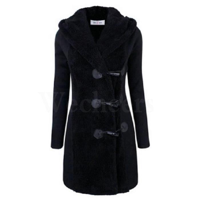 a058264f4c9c8 Femme Manteau Long D hiver à Capuche Bouclé Noir Noir - Achat ...