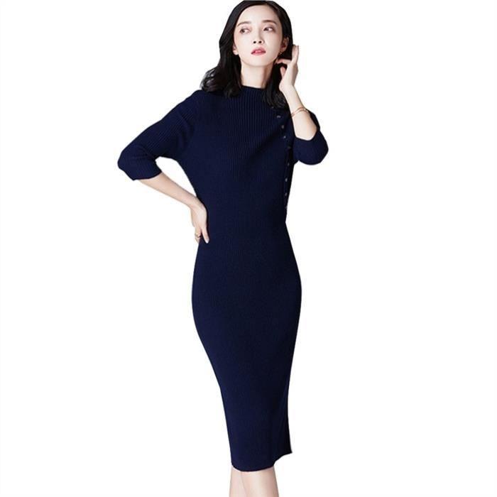 Fitibest manches longues mi longueur robe pull pour les femmes, bleu marine