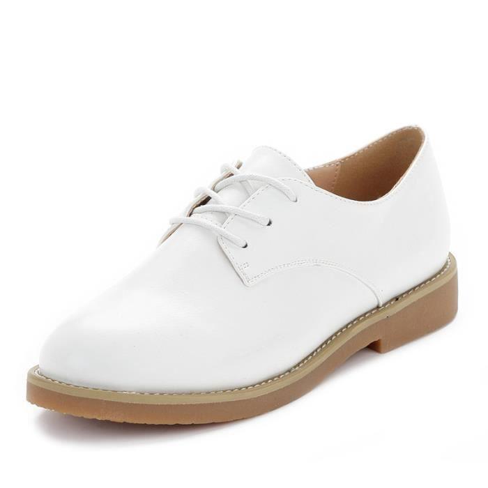 JOZSI Chaussure Femme Cuir Confortable mode Mocassion chaussures de ville ZX-XZ214Blanc37