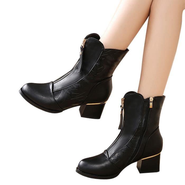 Bottes Femme Coton confor5787 Hauts British Velours À Épais Boot Chaussures Talons Pointu Avec Bare n6qWFcSf