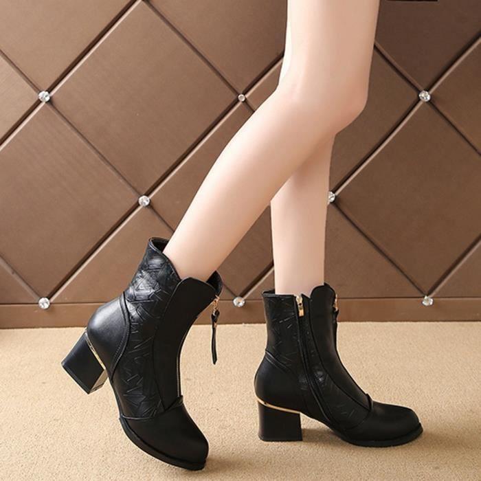Chaussures Femme Hauts Talons À Velours Avec Bottes Pointu Coton Boot confor5787 British Bare Épais wBSCcq7xH