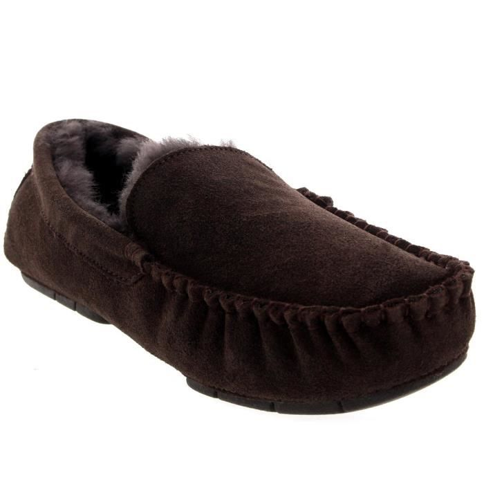 Mens Suede réel Mocassins Chaussures Slipper RYXJA Taille-46
