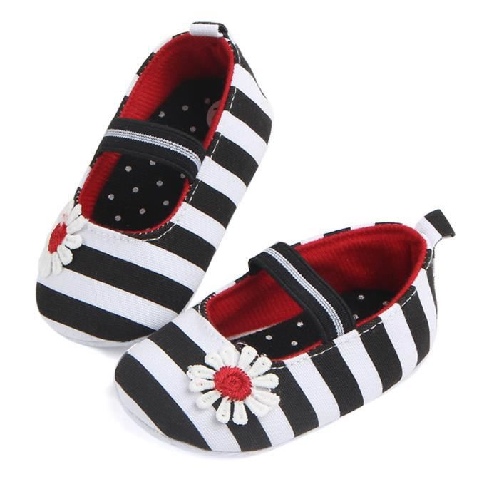 BOTTE Chaussures de fleur à rayures pour bébés Semelle souple Enfants Chaussures de bébé anti-dérapantes pour bébés@NoirHM