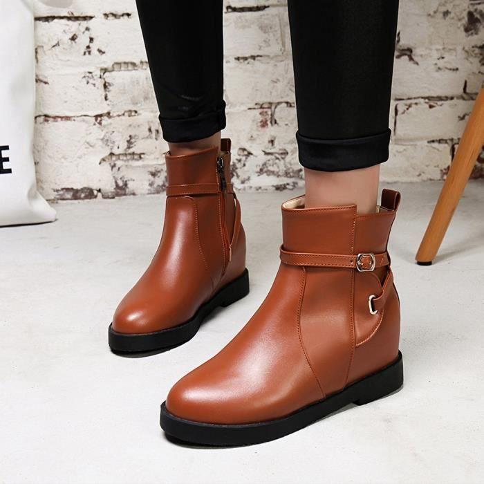 Toe Femmes Bottes Augmenter Cheville Chaussures La Épais Courtes Zip Mode Rondes Bl09080419172 Chaud wHwqrBP