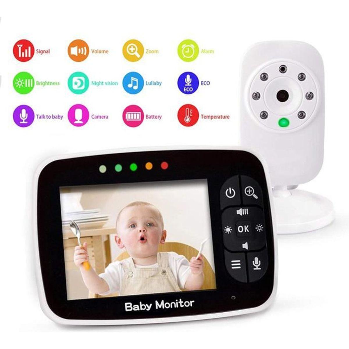 """ÉCOUTE BÉBÉ Bébé Moniteur 3.5"""" LCD Couleur Babyphone Vidéo Eco"""