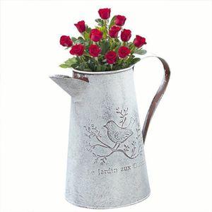JARDINIÈRE - POT FLEUR  kati-way Pot de Fleur Métal Vintage pour Arrosage
