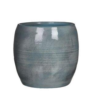 JARDINIÈRE - POT FLEUR  MICA Pot rond Lester bleu - 26 xØ28 cm