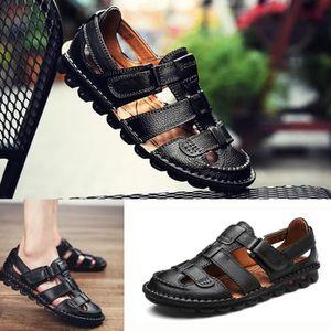 SANDALE - NU-PIEDS Simple d'été évider Chaussures Sandales en cuir vé