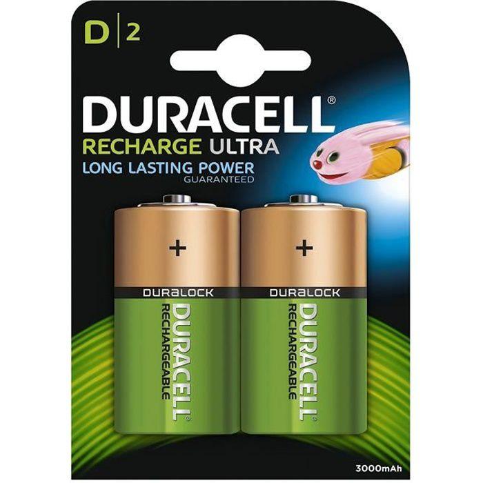 DURACELL Recharges Ultra Piles Rechargeables type D 3000 mAh Lot de 2