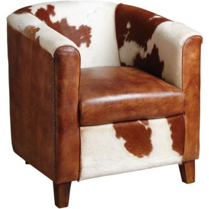 fauteuil club en cuir et peau de vache achat vente. Black Bedroom Furniture Sets. Home Design Ideas