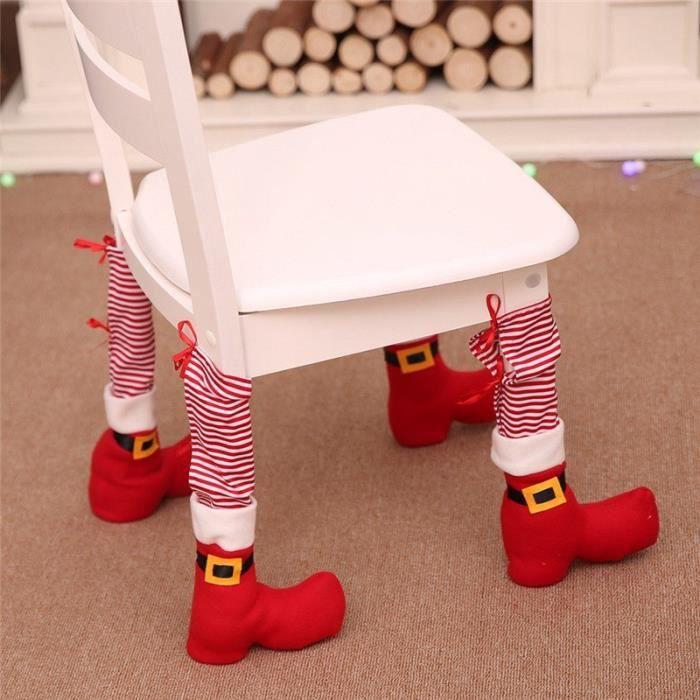 protection pied de chaise botte du p re no l d coration de no l chausson protection maison. Black Bedroom Furniture Sets. Home Design Ideas