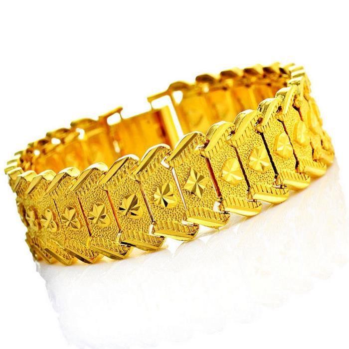 BRACELET - GOURMETTE Bracelet homme Chaîne large Or jaune 18k plaqué Br