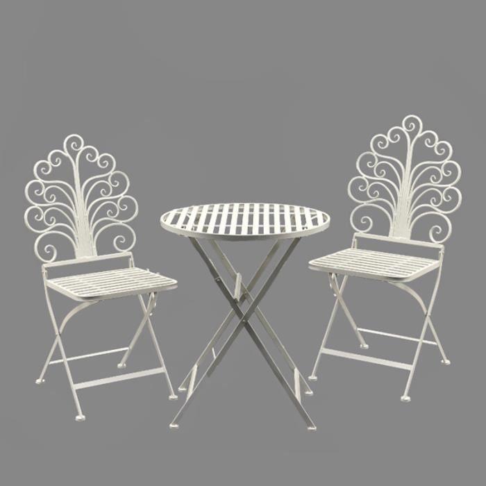 Salon de jardin en fer 2 chaises - Achat / Vente pas cher