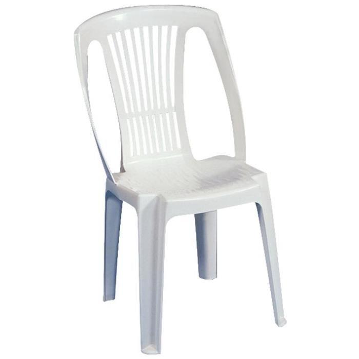 FAUTEUIL JARDIN  Chaise de jardin en Résine polypropylène Blanche -