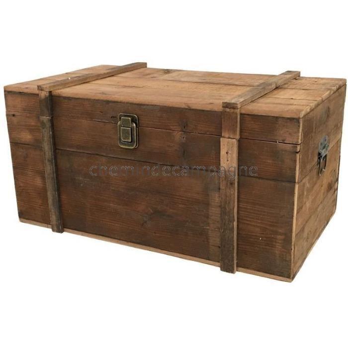 coffre malle en bois de style ancien 70x40x34 cm 70 cm. Black Bedroom Furniture Sets. Home Design Ideas