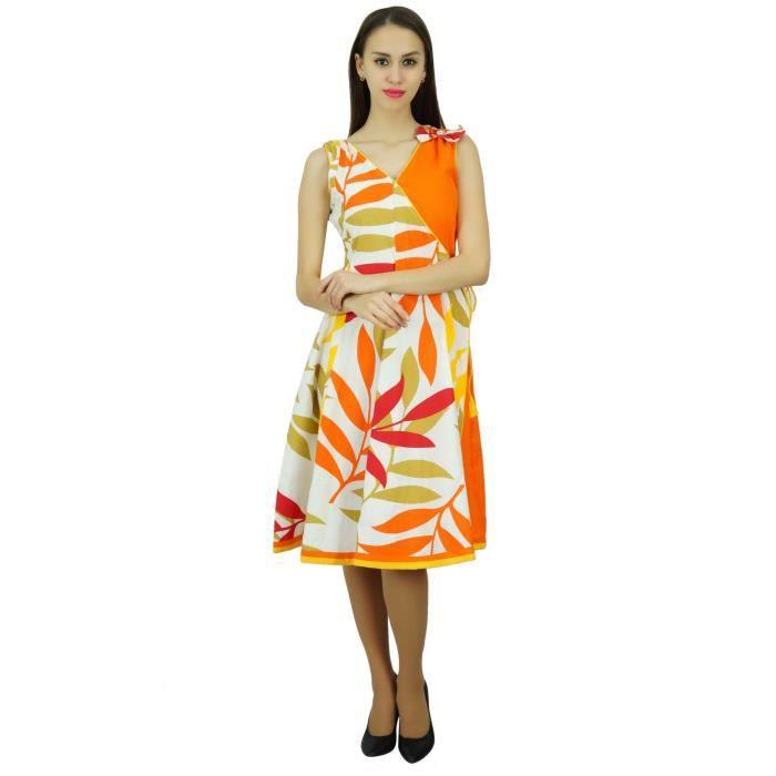 f28b999afc4 Bimba femmes coton sans manches Robes   Floral Casual Robe de plage ...
