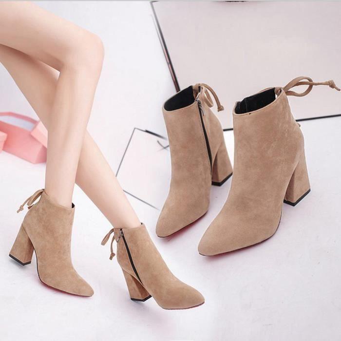 Bottes courtes cylindriques élégantes bottes à talons hauts talons Abkle noeud chaussures d'hiver Noir iqWm7RQcX4