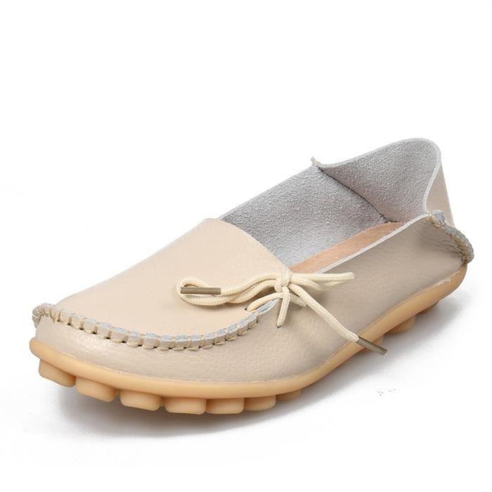 Femmes en cuir de peau de vache Casual Lacets Slipper Slip-on Mocassins Chaussures de conduite plat RSLVC Taille-40 1-2